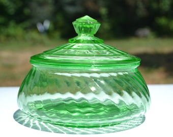 1930s Green Depression Glass Candy/Preserve Jar, Ultraviolet Glass