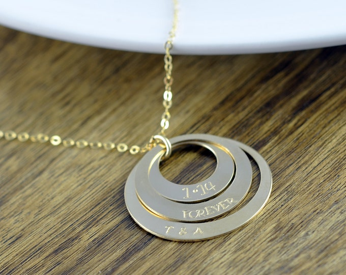 Gold Washer Necklace, Washer Jewelry, Washer Pendant, Triple Washer Necklace, Gold Necklace, Gold Jewelry, Gift for Her, Gift for Wife
