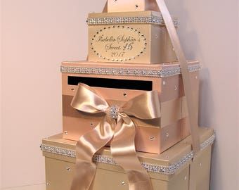 Quinceañera/Sweet 16/Birthday/Wedding Card Box Champagne and Rose Gold Gift Card Box Money Box  Holder--Customize in your color-Custom Made