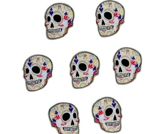Punk Baby - Skull and Crossbones - Day of the Dead - Sugar Skulls - Halloween - DIY Iron On Fabric Cotton Appliques Set of 9 Patches