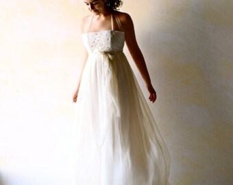 Wedding Dress, Empire wedding dress, low back wedding dress, boho wedding dress, beach wedding dress, hippie wedding dress, chiffon dress