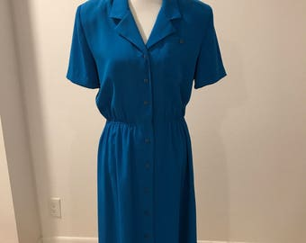 Vintage Blue Dress, 1980's Vintage Leslie Fay Dress, Size 12, Plus Size