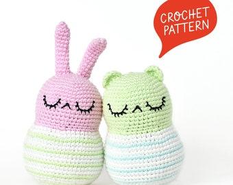Spring Bunny & Bear Crochet Pattern | Tiny Curl Amigurumi Pattern, Bunny Amigurumi Pattern, Bear Amigurumi Pattern, Bunny Crochet