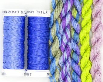 Free Design, PDF, Silk thread, needlepoint design, silk fibers, embroidery thread assortment, lilac, green, hand dyed thread, holiday gift