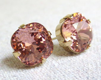 Swarovski Crystal Dusty Blush Pink Rose Post Earrings Cushion Cut Square Earrings Bridal Jewelry Wedding Earrings Bridesmaids Gifts