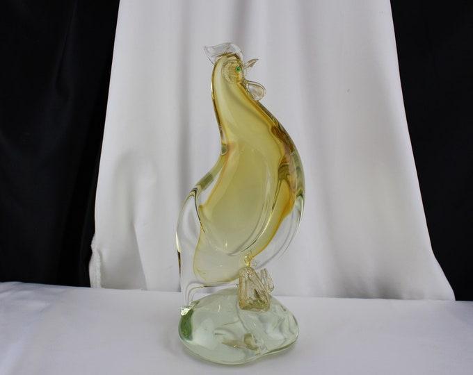 """Mid Century Modern Murano Art Glass Roster Chicken Aventurine Alfredo Barbini 13"""" tall"""