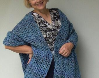 Blue Shawl, Crochet Shawl, Crochet Shawls, Shawl, Shawls, Crocheted Shawls, Wraps Shawls, Gift for Her, Hand Crocheted, Evening Shawl