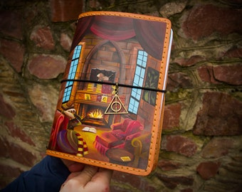 Gryffindor Common Room Harry Potter Gift Gryffindor Tower Castle Hogwarts School of Witchcraft Wizardry Hand Painted Customized Notebook