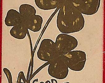 Vtg St Patricks Day Postcard Good Luck Four Leaf Clovers Embossed 1908