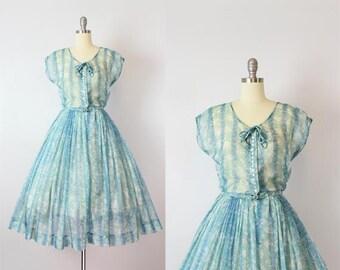 vintage 50s dress / 1950s sheer floral chiffon dress / NELLY DON dress / blue floral dress / garden party dress / Terrace Tea dress