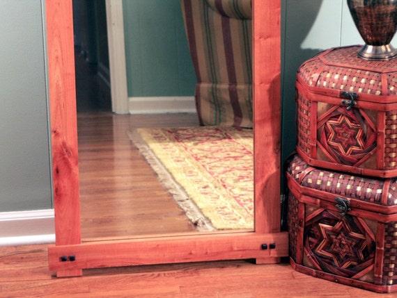 Rustic Cherry Floor Standing Mirror. Cherry Full Length
