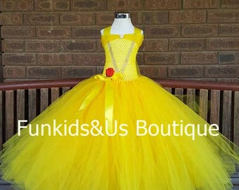 Belle Dress Boutique Inspired Tutu - Princess Bell dress -  Yellow Tutu Dress - birthday party costume , pageant