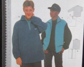 BURDA #2905 BURDA Teenage Boys Sweatshirt Pullover Fleece Vest Pattern UC 9years  to 16 years boys- Sewing Pattern