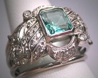 Antique Emerald Diamond Ring Palladium Vintage Art Deco Wedding 1930