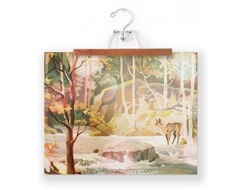 Vintage Paint by Number, Doe in Stream, Deer in Forest, Print Your Own, Instant Art, Digital Download, Print up to 16x20