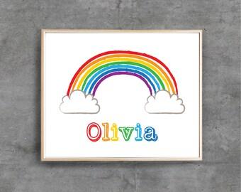 Rainbow Printable Art Print, Custom Name, Nursery Boy Girl Personalised Digital art, Nursery room decor