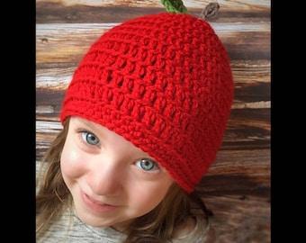 Apple Beanie, Autumn Baby Hat, Baby Apple Hat, Crochet Newborn Hat, Newborn Baby Beanie, Newborn Baby Hat, Baby Photo Prop, Crochet Hat