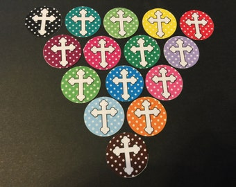 Colorful Crosses Buttons Set of 15
