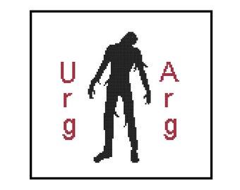 Funny Cross Stitch Pattern PDF - Zombie Silhouette Urg Arg