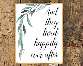 And They Lived Happily Ever After Wedding Print | Watercolor Eucalyptus | Customizable Printable Wedding Gift | Wedding Sign