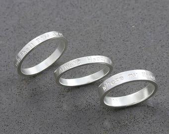 Stacking Engraved Ring, Custom made posey ring, Message RIng, wedding gift, gift for her ( Type writer Style )