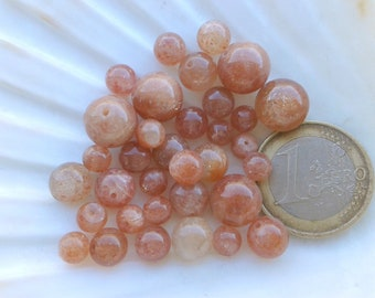 Lot of AA SUNSTONE beads, natural stone bead, round beads, semi precious stone, 10-10.5mm 8mm 7mm and 5.5mm