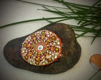 Mandala Stone, Hand Painted Rock, Fall, Autumn, Handmade, Dot Painting, Multi Color, Home and Indoor Garden Decor Rock, Zen, Meditative Art