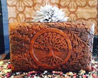 Etched Tree Of Life Wood Box