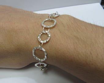 925 Silver Hammered Link Design Bracelet W #462
