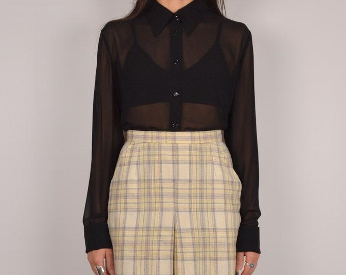 SALE Vintage Sheer Black Button Up Shirt