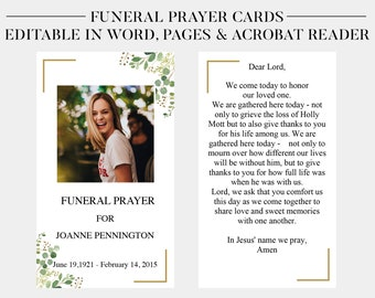 Memorial Card Etsy - Funeral prayer cards templates