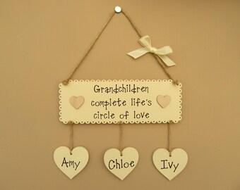 Personalised Grandchildren Wooden Sign Grandchildren