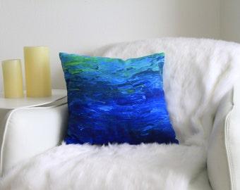 Blue Coastal Pillow, Blue Pillow, Underwater Print Pillow, Coastal Art, Underwater Print, Beach Pillow, Decorative Pillow, Blue Pillow Cover
