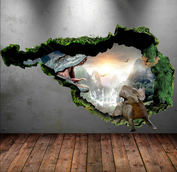 Dinosaur Wall Decal Wall Stickers Full Colour D Dinosaur - 3d dinosaur wall decalsd cartoon dinosaur wall stickers art decal mural home room