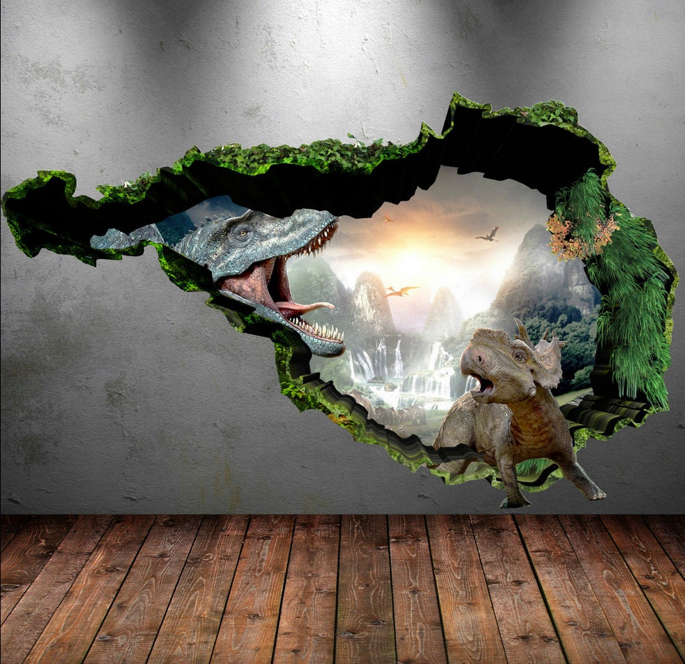 Dinosaur wall decal wall stickers full colour 3d dinosaur zoom amipublicfo Image collections