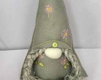 Handmade, pretty, embroidered Nordic style Gnome, lovely gift
