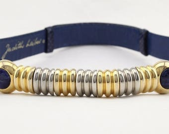 Vintage Judith Leiber snake skin navy blue gem cabochon gold tone segmented buckle belt