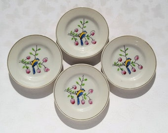 Set of Four Vintage Porcelain Hand painted Bluebird Butter Pats presented by Donellensvintage