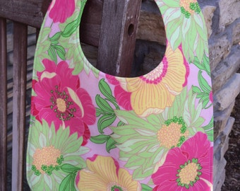 TODDLER or NEWBORN Bib: Bright Bold Flowers, Personalization Available