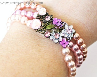 Vintage inspired Pink Flowers and pearls.