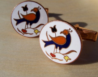 Vintage Pennsylvania Folk Distelfink Bird Cuff Links. Dutch Hex. Cuff Links. Good Luck. Happiness