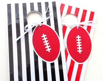 Australian Football Gift Tags. Football shape in red and white. AFL party, football party, tween teen boy girl. Aussie rules footy.
