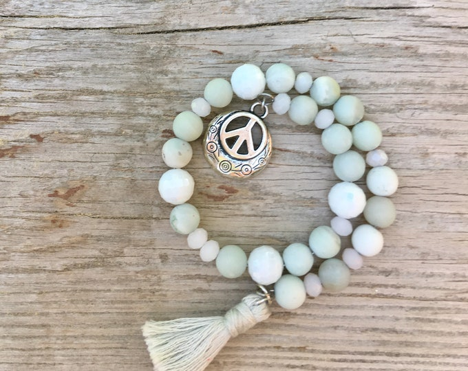 Peace Be With You I - Wrap around mala/prayer bracelet made with semi precious Amazonite