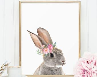 Bunny rabbit with flowrs, PRINTABLE Floral woodland animal nursery wall art P126
