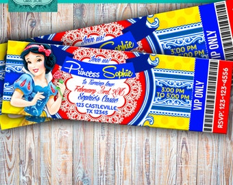 Snow white printable personalized invitation, snow white ticketmaster invite, snow white digital party,snow white ticket,snow white birthday
