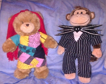 Jack Skellington and Sally inspired costumes for Build a Bear, stuffed animal, doll