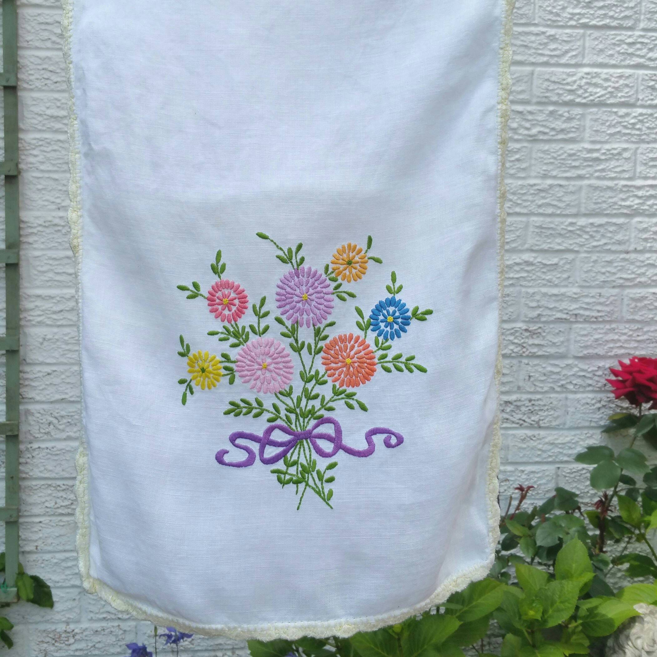 Vintage table runner tray cloth place mat chair cover.