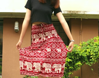 Red dress Thai dress Harem dress Hippie dress Boho dress Bohemian dress Gypsy dress Elephant dress