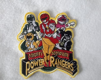 Vtg Mighty Morphin Power Rangers Patch 4.5 in  Iron on Embroidered
