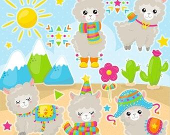 80% OFF SALE Alpaca clipart commercial use, Kawaii vector graphics, animal digital clip art, llama digital images - CL1088